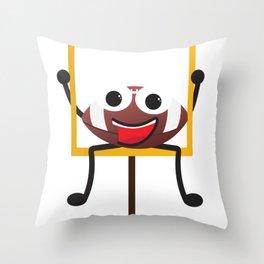 Cute Smiling Football ball Throw Pillow