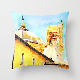L'Aquila: convent, dome and bell tower destroyed Throw Pillow