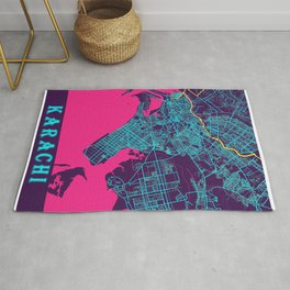 Karachi Neon City Map, Karachi Minimalist City Map Art Print Rug