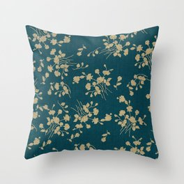 Gold Green Blue Flower Sihlouette Throw Pillow