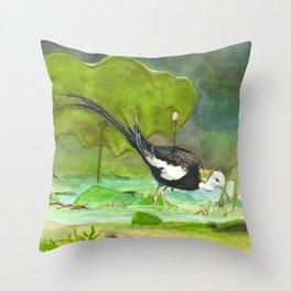 Pheasant-tailed jacana Throw Pillow
