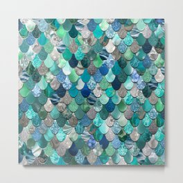 Mermaid Art, Sea,Teal, Mint, Aqua, Blue Metal Print