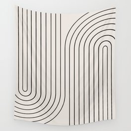 Minimal Line Curvature - Black and White I Wall Tapestry