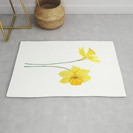 two botanical yellow daffodils watercolor Rug