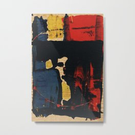 Abstract Red Yellow Blue Black Intriguing Dark Figurative Metal Print