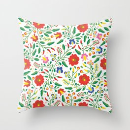 Hungarian Matyo Embroidery Throw Pillow