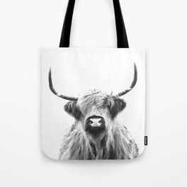 Black and White Highland Cow Portrait Tote Bag