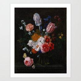 Nicolaes van Veerendael - A Bouquet of Flowers in a Crystal Vase (1662) Art Print