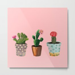 Three Cacti With Flowers On Pink Background Metal Print