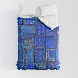 V2 Calm Blue Traditional Moroccan Cloth Texture. Comforters