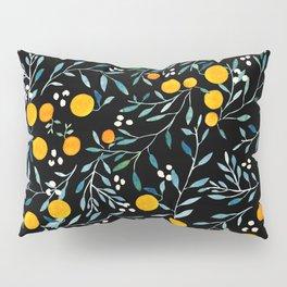 Oranges Black Pillow Sham