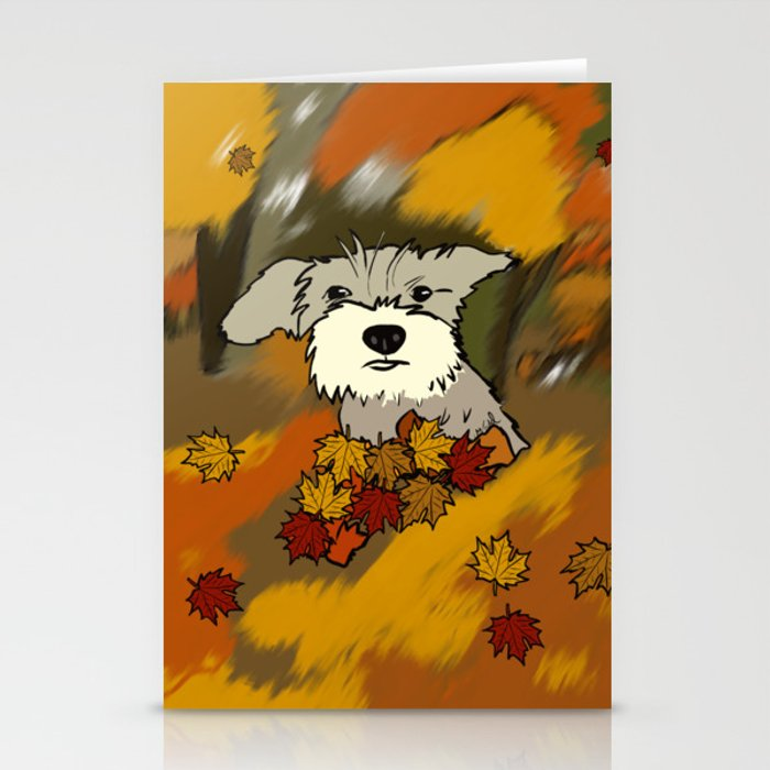 Schnauzer In Fall Leaves Stationery Cards