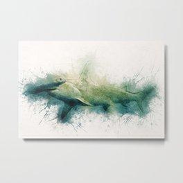 Hammerhead Shark Watercolor Art for the Ocean Lovers and Anglers Metal Print