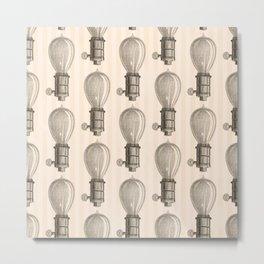 Vintage Light Bulbs Neck Gator Pencil Drawing Light Bulb Metal Print