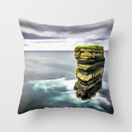 Downpatrick Head, Ireland. (Painting.) Throw Pillow
