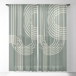 Minimalist Lines in Forest Green Sheer Curtain
