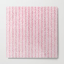 Nappy Faux Velvet Stripes in Pink on Pink Metal Print