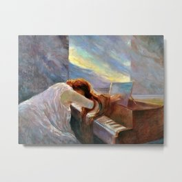 Classical Masterpiece 'Al Piano' by Lionello Balestrieri Metal Print