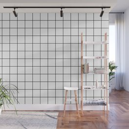 Grid Pattern Stripes Lines Black and White Minimalist Geometric Stripe Line Wall Mural