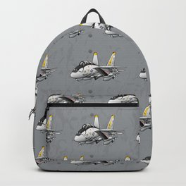 F-14 Tomcat Military Fighter Jet Aircraft Cartoon Illustration Backpack