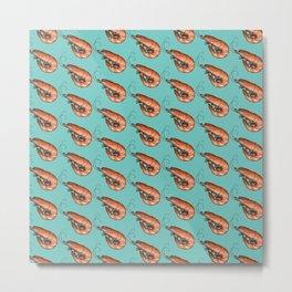 Prawn and Shrimp Seafood Fiesta in Blue Metal Print