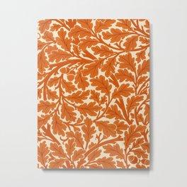 William Morris Oak Leaves, Rust Orange & Cream Metal Print