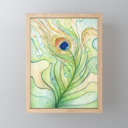 Peacock Feather Green Texture and Bubbles Framed Mini Art Print