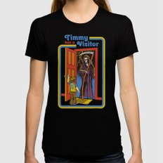 TIMMY HAS A VISITOR Black LARGE Womens Fitted Tee