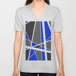 Triangles Stripes Mikado Design Geometric blue Unisex V-Neck
