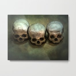 Three human skulls Metal Print