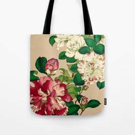 Vintage Japanese Camellias. Deep Pink on Beige Tote Bag