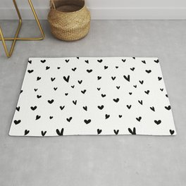 Black and White Heart Pattern Rug