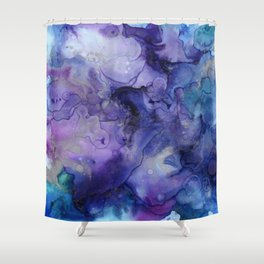 Abstract Watercolor, Ink Prints, Indigo, Blue, Purple Shower Curtain