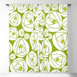 rose abstract green Blackout Curtain