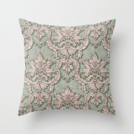Pink Green Paisley Floral Throw Pillow