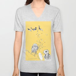 Two Tailed Duck and Jellyfish Pale Yellow Mellow Unisex V-Neck