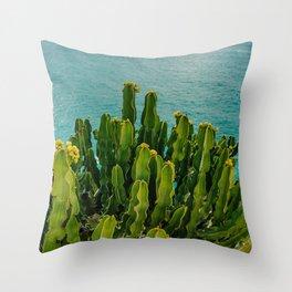 Amalfi Coast Cactus Throw Pillow