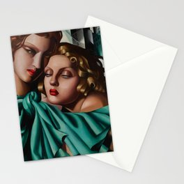 Classical Masterpiece 'Cold Beauty - Two Girls - Les Jeunes Filles' by Tamara de Lempicka Stationery Cards