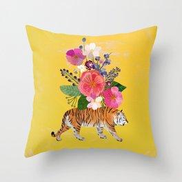 Tiger Bloom Throw Pillow