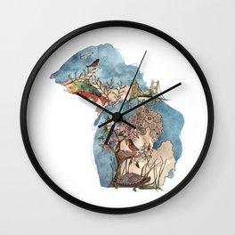 Michigan State Symbols Wall Clock