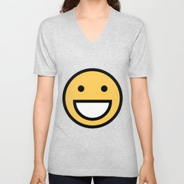 Smiley Face    Cute Simple Big Mouth Smiling Happy Face Unisex V-Neck