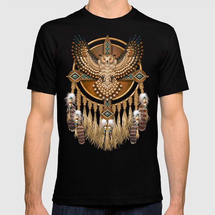 Native American-Style Great Horned Owl Mandala T-shirt