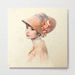 Audrey Hepburn - Eliza Doolittle - Watercolor Metal Print