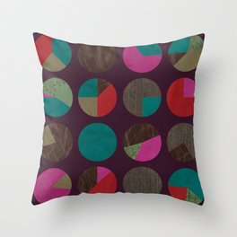 dots and shreds and colors Throw Pillow