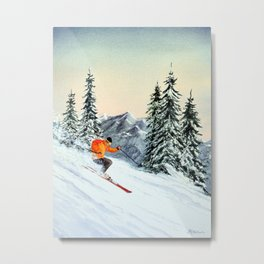 Skiing The Clear Leader Metal Print