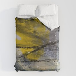 Large Abstract Expressionist Painting in Yellow Gray and White Comforters