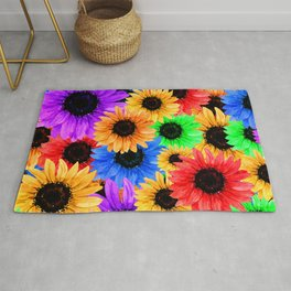 Sunflowers overlay various colors Rug