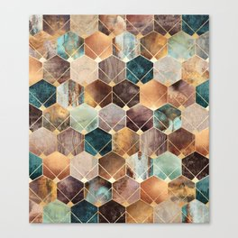 Natural Hexagons And Diamonds Canvas Print