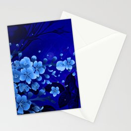 Cherry blossom, blue colors Stationery Cards