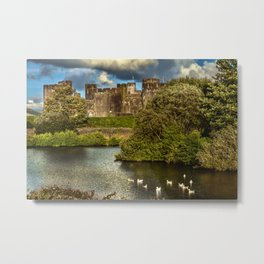 Caerphilly Castle Western Towers Metal Print